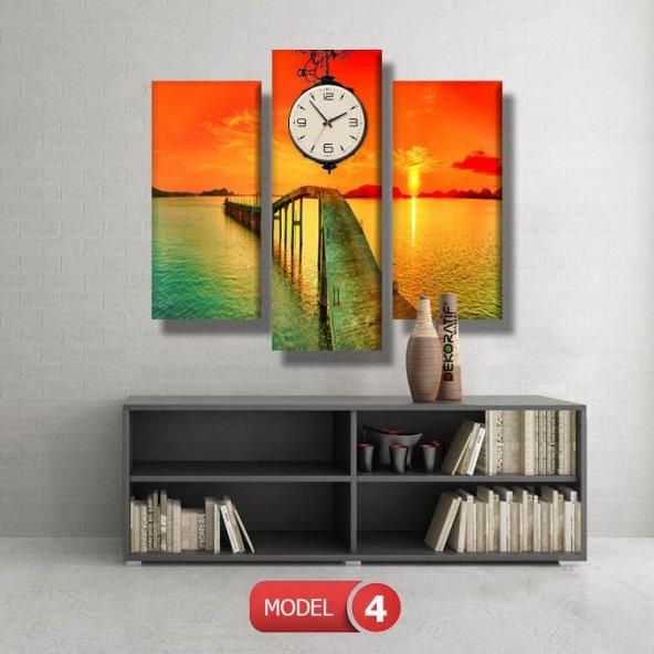 gün batımı-iskele tabloları- saatli kanvas tablo MODEL 1 - 162x75 cm