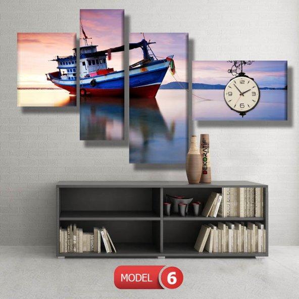 balıkçı teknesi tabloları- saatli kanvas tablo