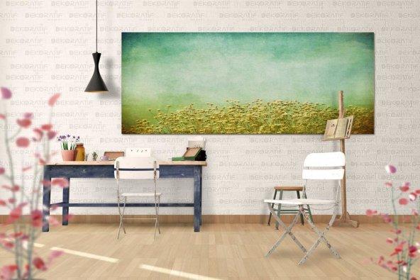 Turkuaz Rengi Çiçekli Tablo 80 cm x 160 cm