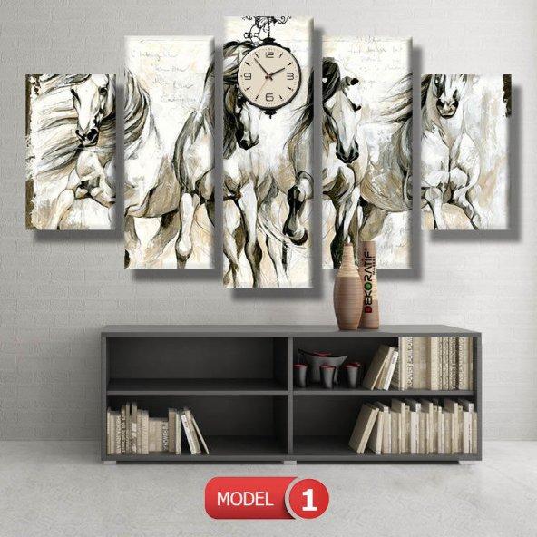 at tabloları - saatli kanvas tablo MODEL 1 - 162x75 cm