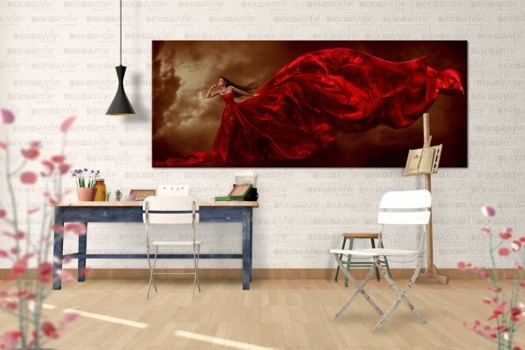 Kırmızı Elbiseli Kadın Kanvas Duvar Tablosu 40 cm x 80 cm