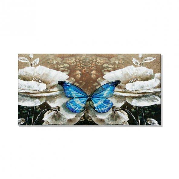 Mavi Kelebek -Bej Çiçek Kanvas Tablosu 100 cm x 200 cm
