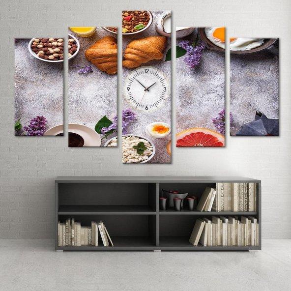 Mutfak Dekor - 5 Parçalı Saatli Kanvas Tablo ORTA BOY