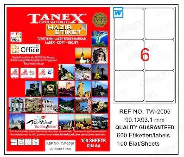 Tanex TW-2006 99,1x93,1 mm A4 Beyaz Lazer Etiket