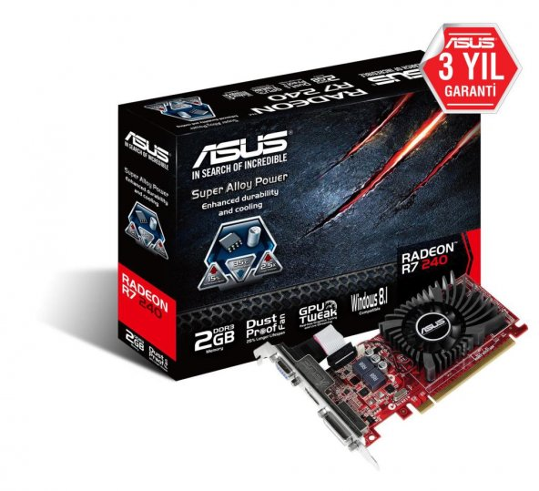 Asus 2GB R7240-2GD3-L GDDR3 128BIT HDMI-DVI-VGA