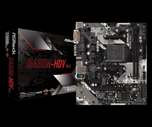 Asrock B450M-HDV R4.0 Socket AM4, DDR4 3200MHz+ (O