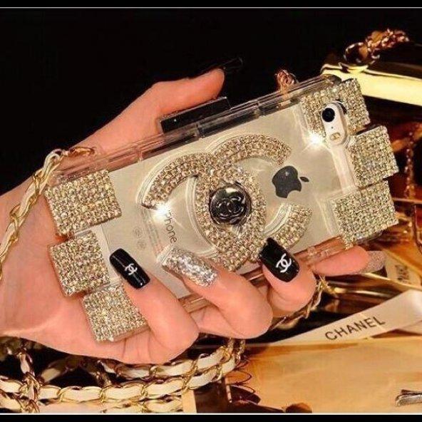 Chanel Parfüm Şişesi Modeli iPhone 5 & 5S Çantalı Askılı Kılıf - Sarı Taşlı