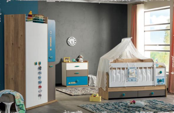 Single-Bebek Odası Takımı-Uzun Sallanır Beşik-3lü Dolap-Şifonyer
