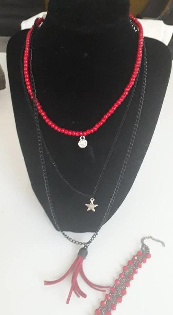 Kırmızı boncuklu uzun kolye bileklik seti