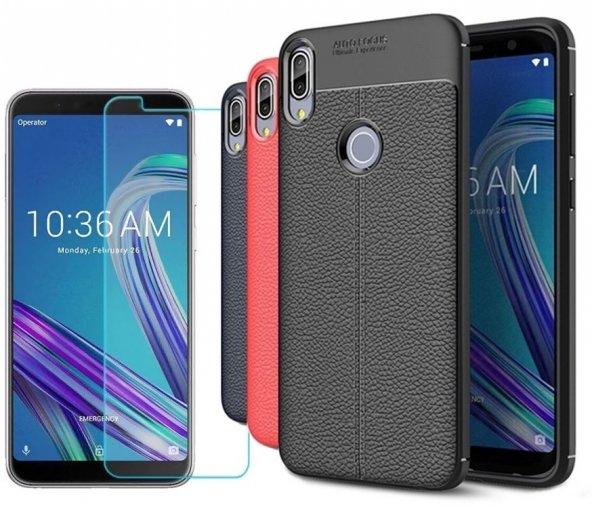 Asus Zenfone Max Pro ZB602KL Kılıf Silikon Özel Niss Deri Görünüm