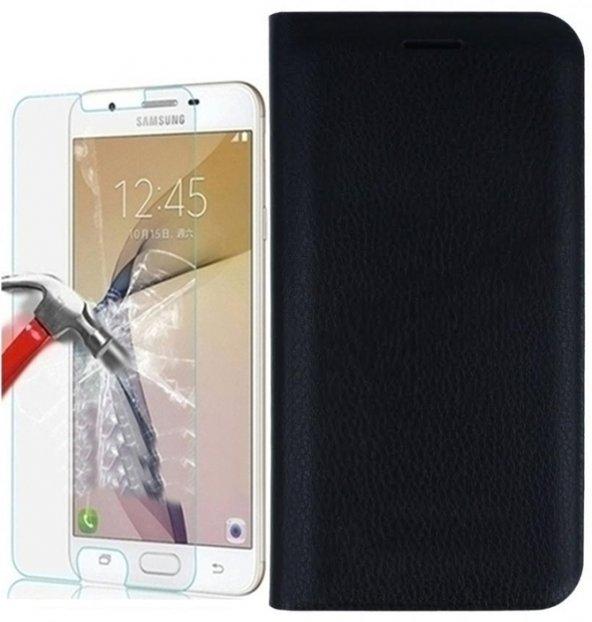Samsung J7 Prime Cüzdan Kılıf Kapaklı Siyah Kırılmaz Cam Hediye