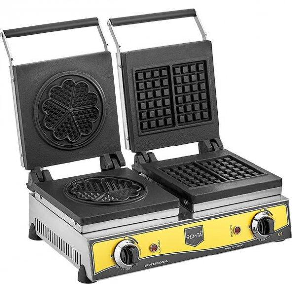 Remta Yonca Kare Şekilli Döküm Waffle Makinası Sanayi Tipi