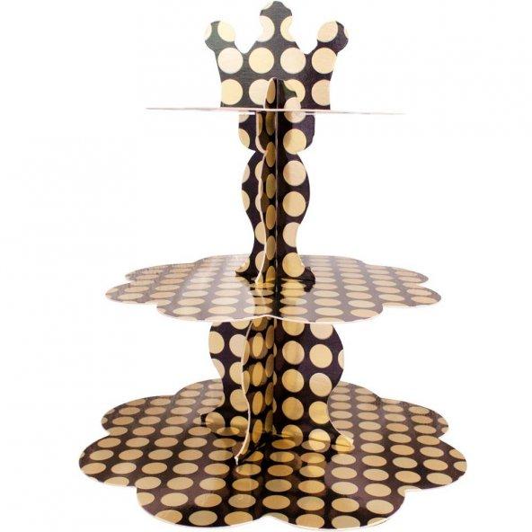 Kikajoy Metalik Altın Puantiyeli Cupcake Standı