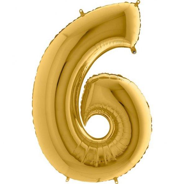 6 Rakam Grabo Altın Folyo Balon 102 cm