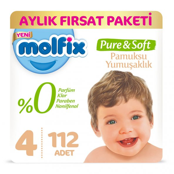 Molfix Pure&Soft 4 Beden Maxi Aylık Fırsat Paketi 112 Adet