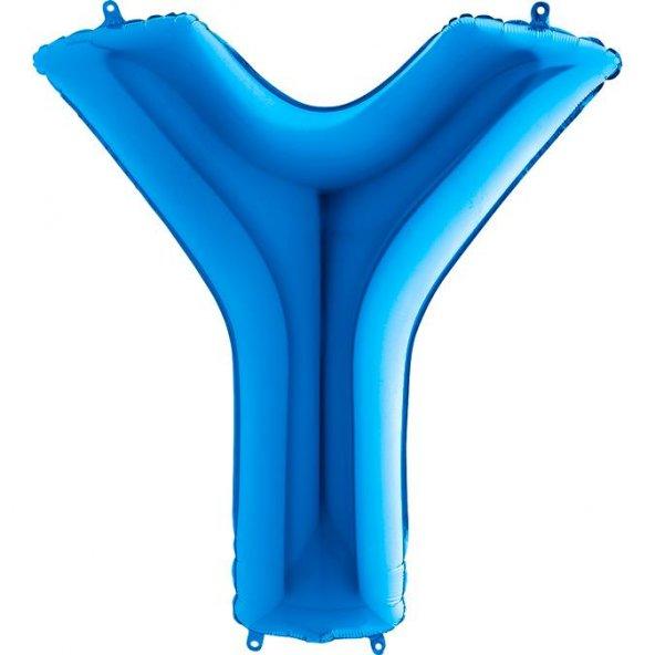 Y Harf Grabo Mavi Folyo Balon 102 cm