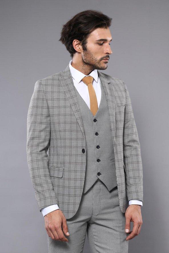 Ekose Gri Yelekli Slim Fit Takım Elbise | Wessi