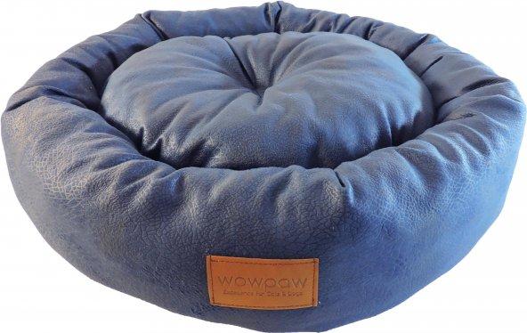 Wowpaw Luxury Mavi Yuvarlak Orta Boy Kedi Köpek Yatağı