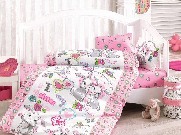 Cottonbox Ranforce Bebek Uyku Seti TAVŞAN KARDEŞLER (Bebeğinize ambalajında küçük sabunumuz hediyemizdir)