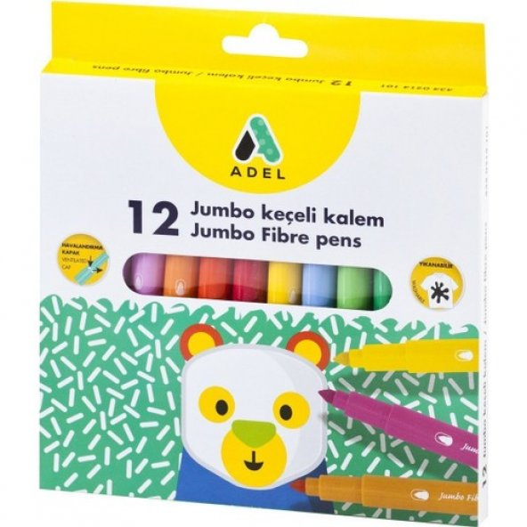 Adel Jumbo Keçeli Kalem 12 Renk