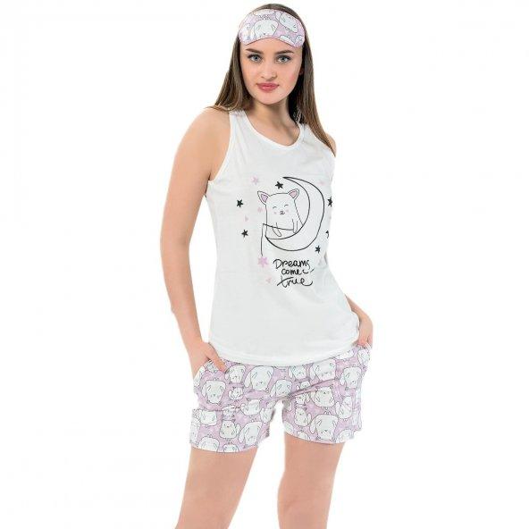 Tilki Desenli Şortlu Askılı Sıfır Kol Bayan Pijama Takımı