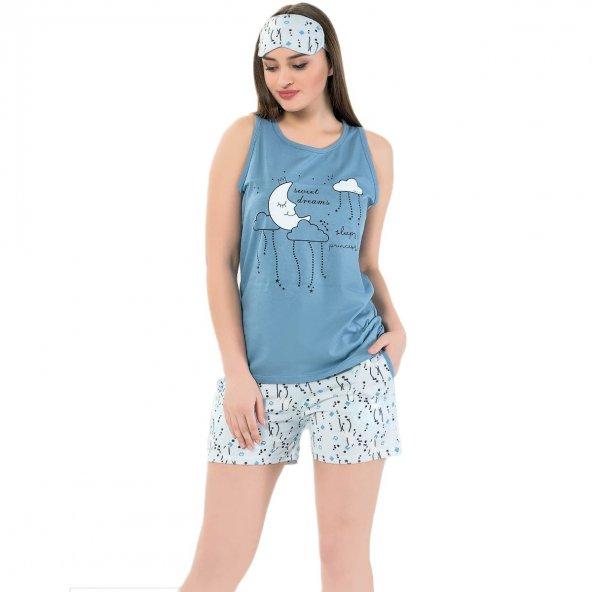 Ay Bulut Desenli Şortlu Askılı Sıfır Kol Bayan Pijama Takımı