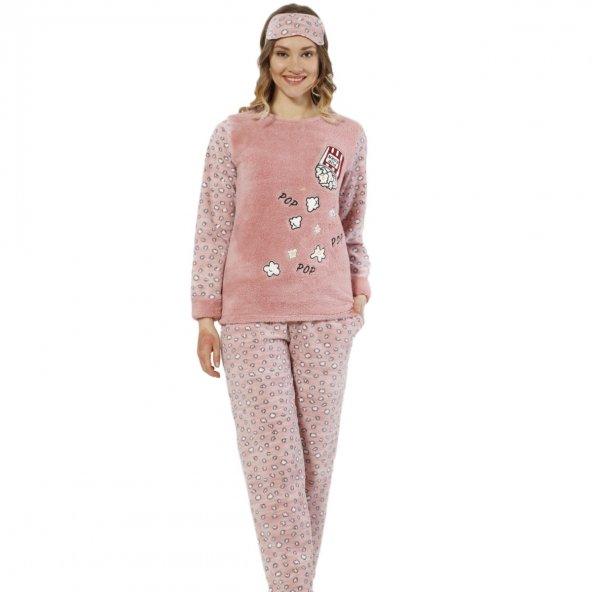 Popcorn Desenli Peluş Pijama Takımı