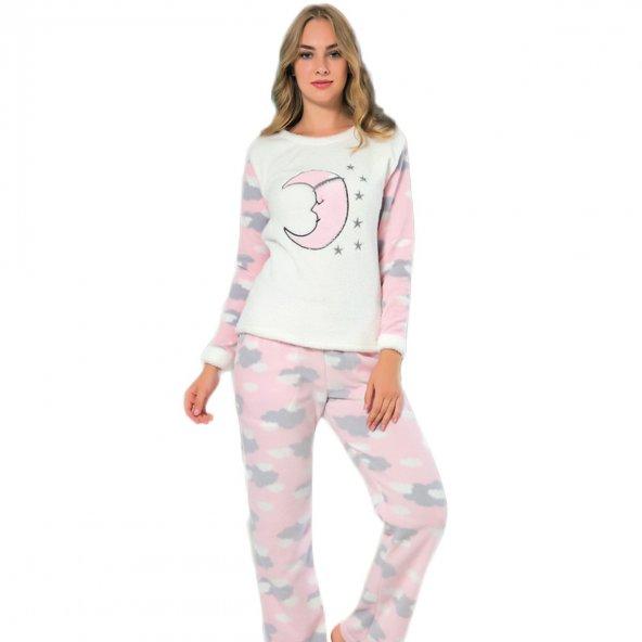 Ay Yıldız Desenli Bayan Peluş Pijama Takımı