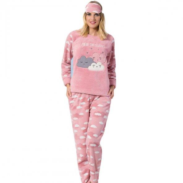 Bulut Desenli Bayan Peluş Pijama Takımı