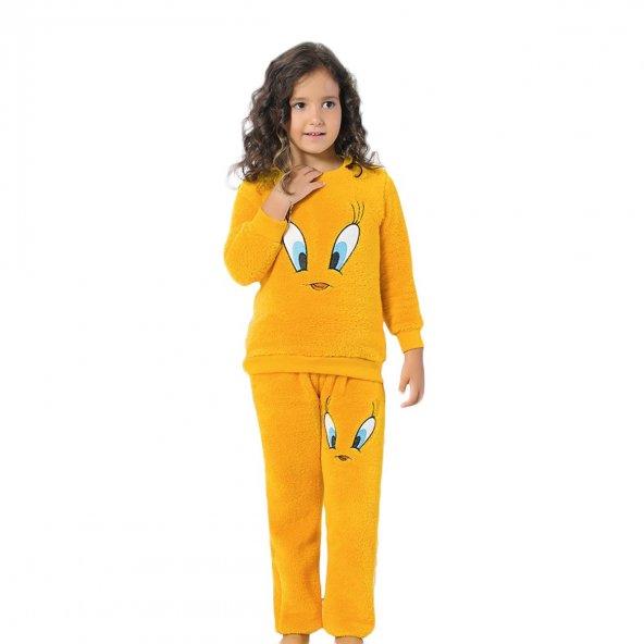 Tweety Desenli tam peluş kız çocuk polar pijama takımı