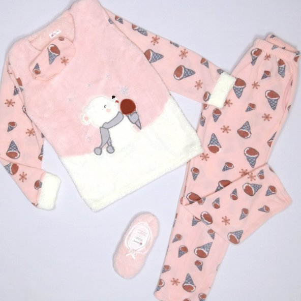 Ayıcık Dondurma Desenli Bayan Peluş Pijama Takımı