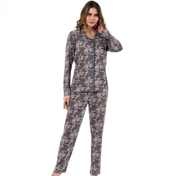 Kilim Desenli Saten Önden Düğmeli Pijama Takımı