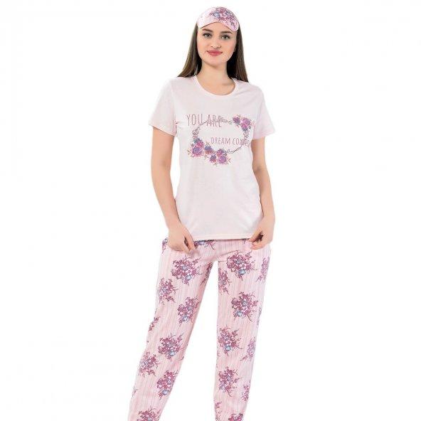 Çiçek Desenli Kısa Kollu Pijama Takımı