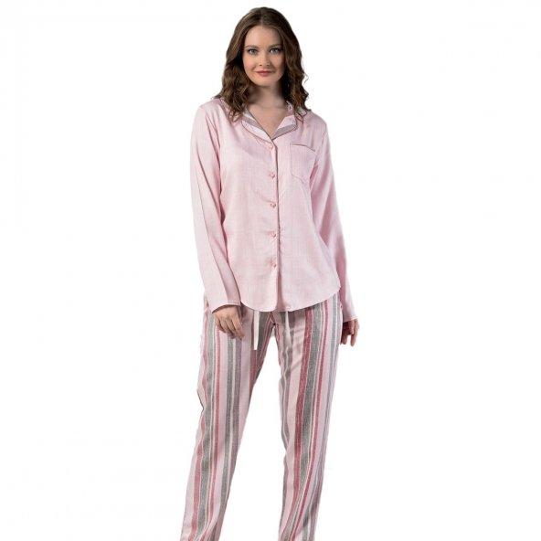Classical Exculusive Collection Önden Düğmeli İpek Saten Pijama Takımı