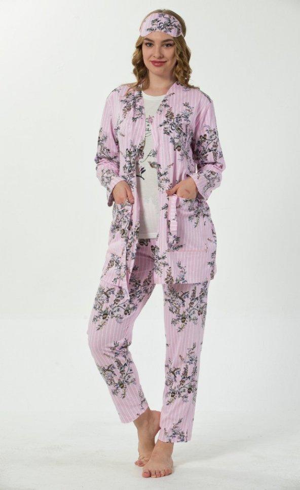 Açık Pembe Çiçek Kuş Desenli Sabahlıklı Pijama Takımı