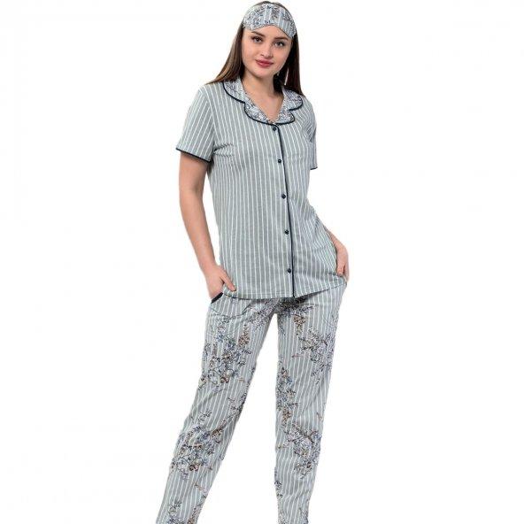 Yeşil Çiçek Kuş Desenli Önden Düğmeli Kısa Kollu Pijama Takımı