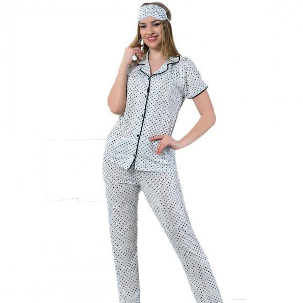 Kalp Desenli Saten Viskon Önden Düğmeli Kısa Kollu Pijama Takımı