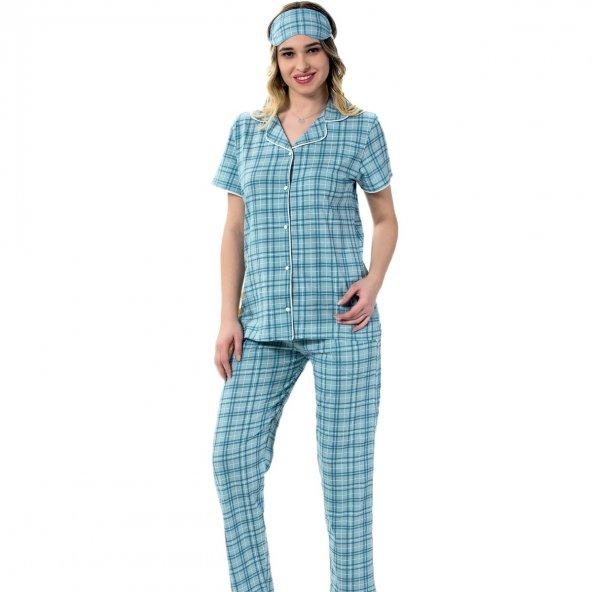 Kareli Önden Düğmeli Kısa Kollu Pijama Takımı