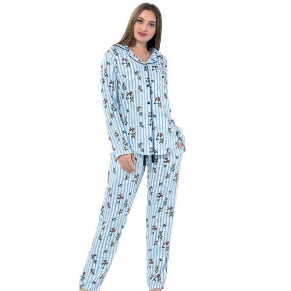 Blue One Exculusive Collection Önden Düğmeli Uzun Kollu İpek Saten Pijama Takımı