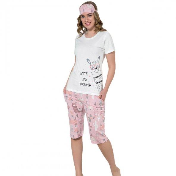 Lama Desenli Kapri Kısa Kollu Bayan Pijama Takımı