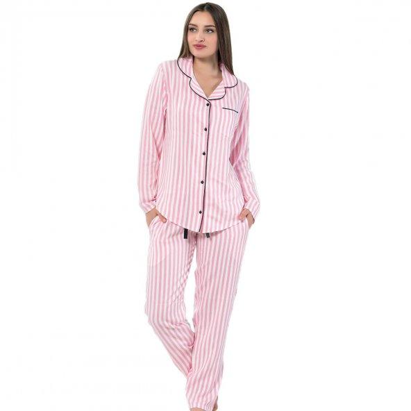 Pink Secret Exculusive Collection Önden Düğmeli Uzun Kollu İpek Saten Pijama Takımı