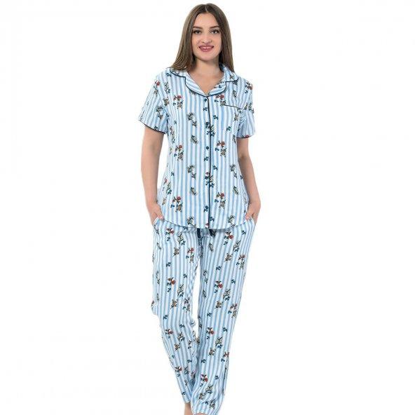 Blue One Exculusive Collection Önden Düğmeli Kısa Kollu İpek Saten Pijama Takımı