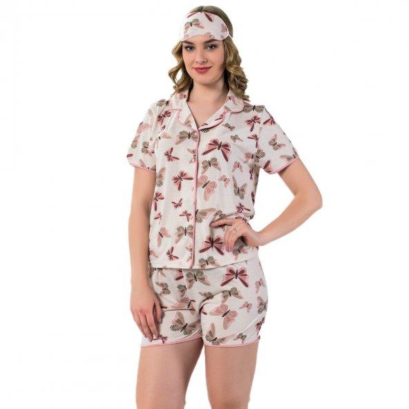 Kelebek Desenli Önden Düğmeli Kısa Kollu Şortlu Pijama Takımı