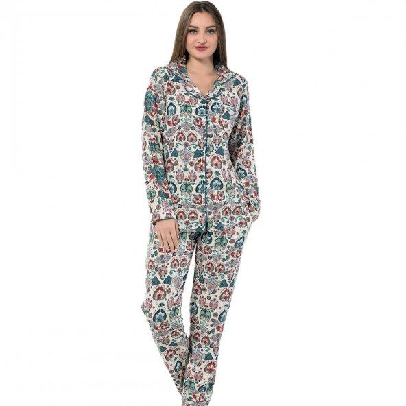 Rugy Exculusive Collection Önden Düğmeli Uzun Kollu İpek Saten Pijama Takımı