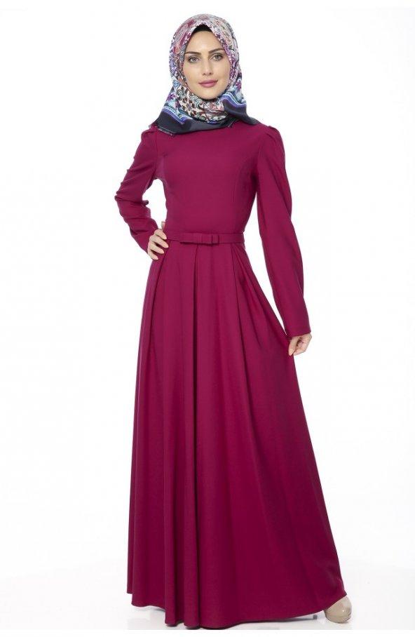 5050 Kemerli Elbise - Mürdüm