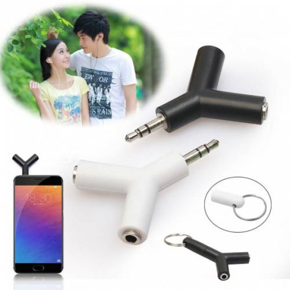 2 Çıkışlı Stereo Kulaklık Çoklayıcı Aparat Anahtarlık 3.5mm - Mi-