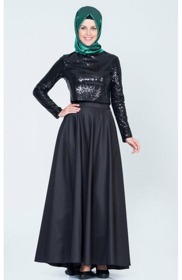 Tafta Etek Payet Bluz Ikili Tkm 9002 - Siyah
