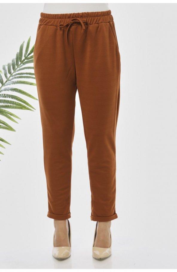 Y363 Yazlik Rahat Kesim Pantolon - Taba