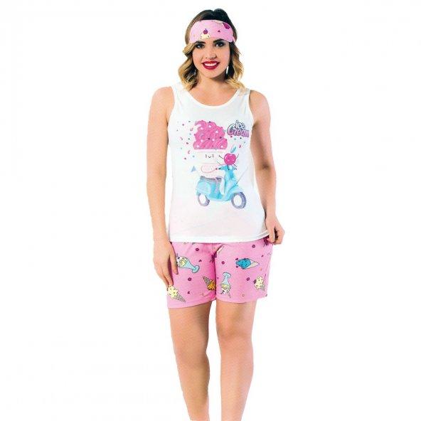 Dondurma Desenli Bayan Şortlu Pijama Takımı