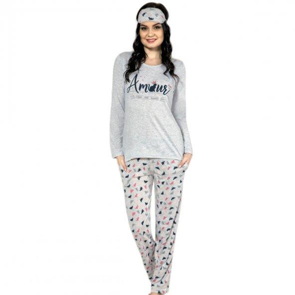 Amour Desenli Uzun Kollu Bayan Pijama Takımı